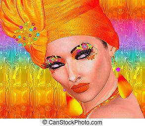arancia, moda, e, bellezza, trucco