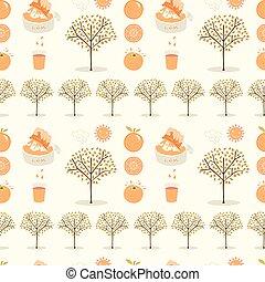 arancia, modello, vettore, albero, mano, disegnato, grove., seamless, illustrazione