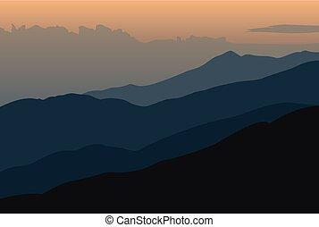 arancia, montagne, silhouette, tramonto, paesaggio