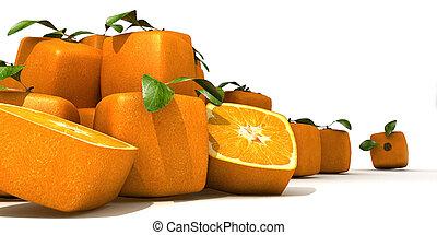 arancia, mucchio, cubico