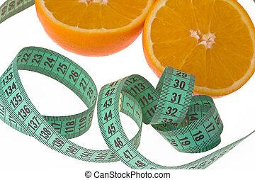 arancia, nastro di misura