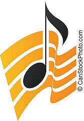 arancia, nota, musicale