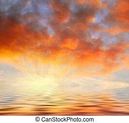 arancia, nubi, tramonto, sopra, acqua