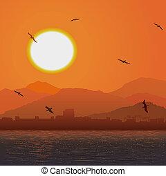 arancia, ocer, tramonto, coast.
