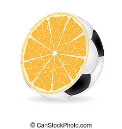 arancia, palla, vettore, illustrazione