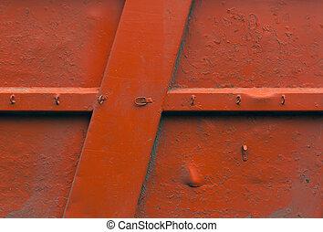 arancia, parete metallo, texture.