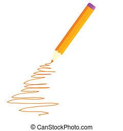 arancia, penna, vettore, illustrazione