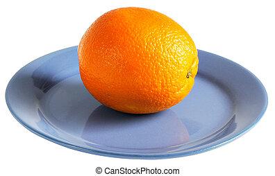 arancia, piastra blu
