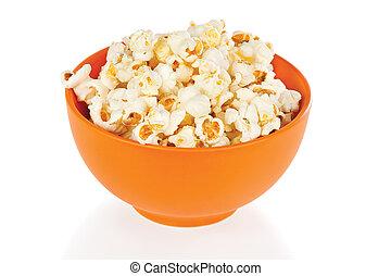 arancia, popcorn, bianco, ciotola, fondo