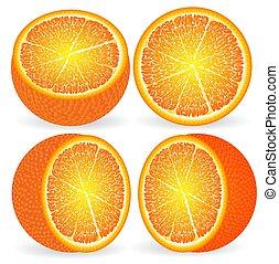 arancia, primo piano, taglio, differente, angoli