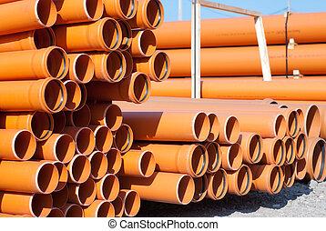 arancia, pvc, tubi per condutture