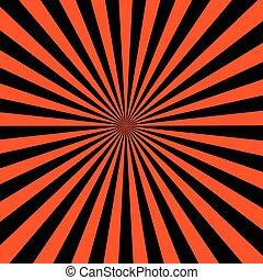 arancia, raggi, sfondo nero