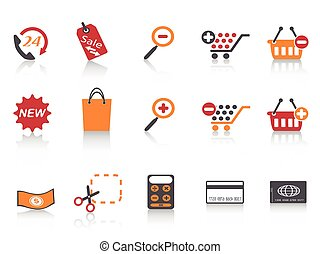arancia, rosso, colorare, serie, shopping, icone, set