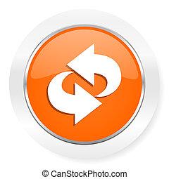 arancia, rotazione, icona computer