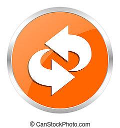 arancia, rotazione, lucido, icona
