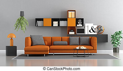 arancia, salotto, moderno, grigio