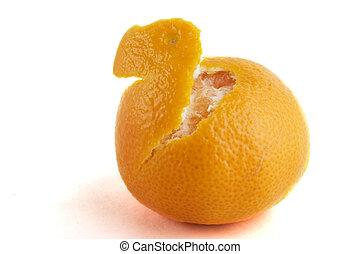 arancia, sbucciato, parzialmente