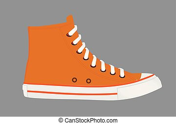 arancia, scarpa tennis, scarpa