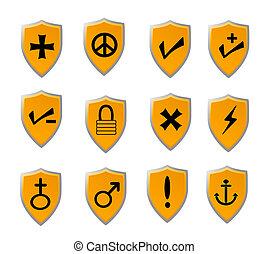 arancia, set, scudo, icona