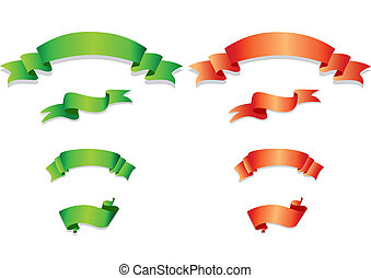 arancia, set, verde, ribbons.