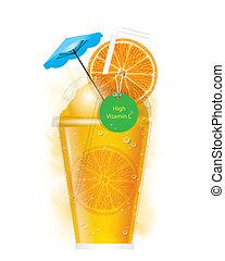 arancia, smoothie, vettore
