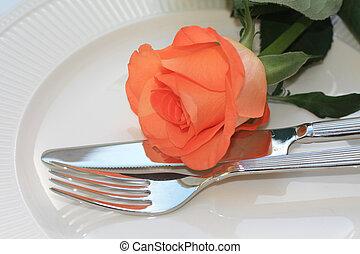 arancia sorto, cena, coltelleria, invito