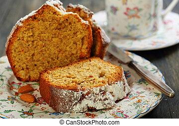 arancia, torta, mandorla, closeup.