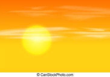 arancia, tramonto, sfondo giallo
