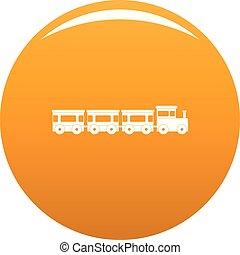 arancia, treno, vettore, espresso, icona