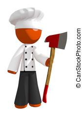 arancia, uomo, chef, presa a terra, ascia, dritto
