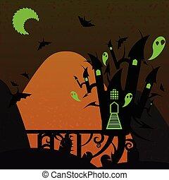 arancia, verde, castello, halloween