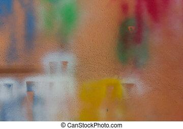 arancia, vernice, spruzzo, wall.