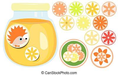 arancia, vetro, marmellata d'arance, chiuso