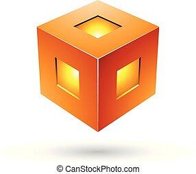 arancia, vettore, audace, cubo, illustrazione, lanterna