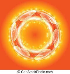 arancia, vettore, cerchio
