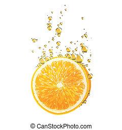 arancia, vettore, frutta
