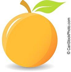 arancia, vettore, icona