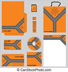 arancia, vettore, set, affari