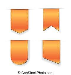 arancia, vettore, set, nastro