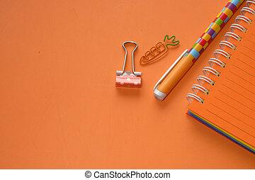 arancia, vista, spazio, cima, penna, blocco note, copia