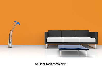 arancia, vivente, stanza moderna