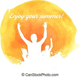 arancia, watercolored, grunge, fondo, festa
