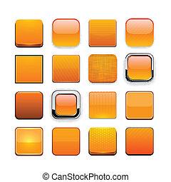 arancia, web, buttons., moderno, high-detailed