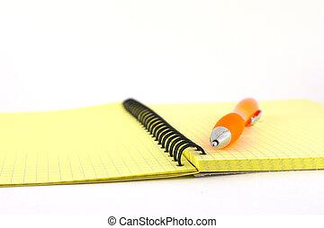 arancia, writing-book, penna, giallo