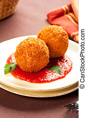 Arancini - Deep fried balls of arborio rice stuffed with ...