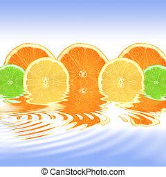 arancio limone calce, astratto