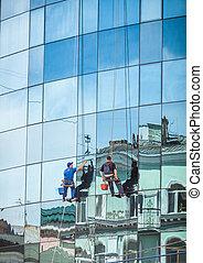 arandelas, vidrio, rascacielos, fachada, profesional, ...
