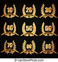 arany, állhatatos, évforduló, jelvény