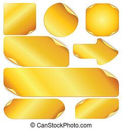 arany-, állhatatos, elements., hangjegy, labels., vektor, tervezés, tiszta, böllér