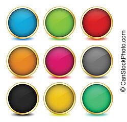 arany-, állhatatos, frames., gombok, vektor, háló